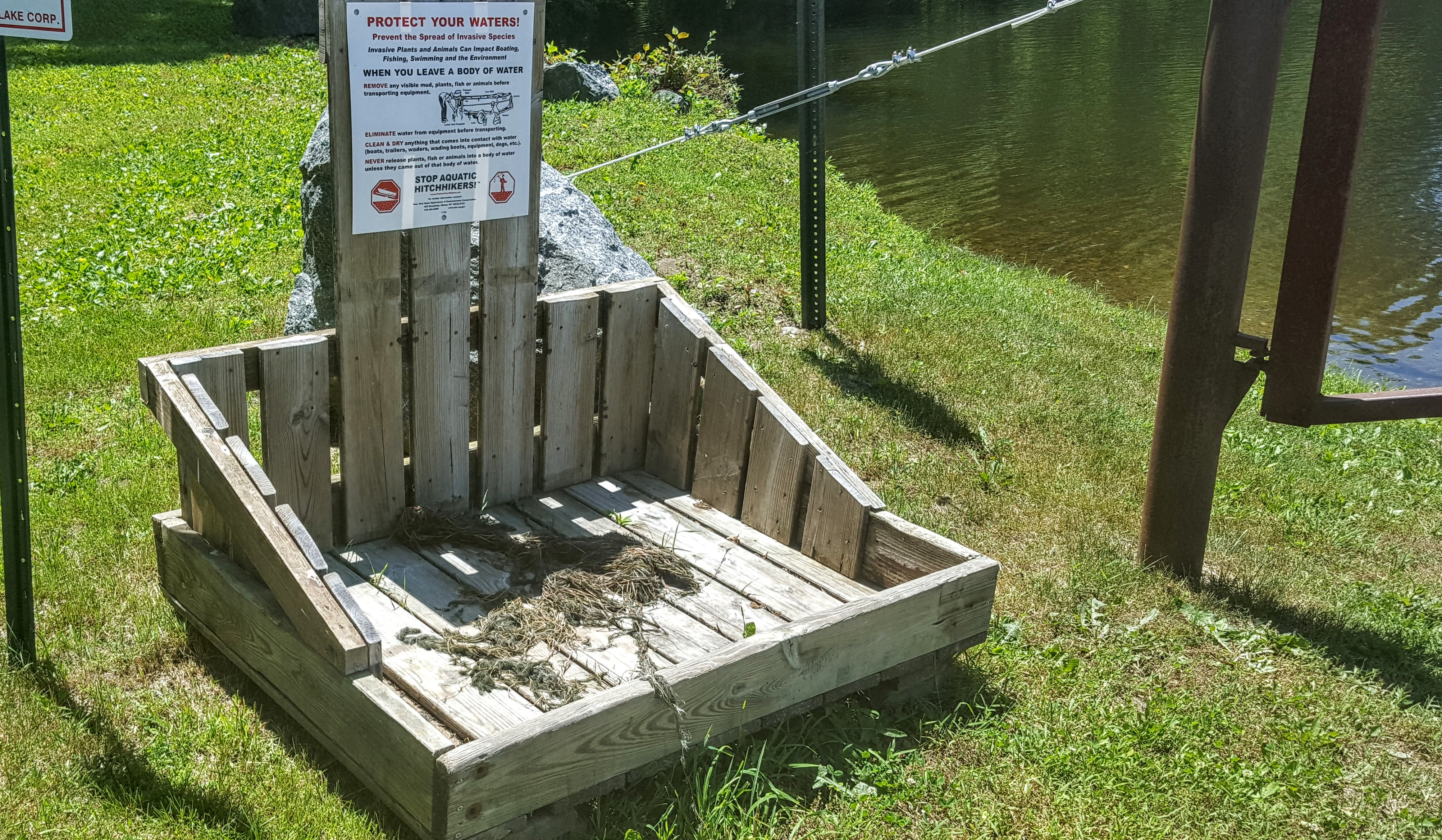 Check It Out! Thanks To Board Member Ken Bosen, We Have A Brand New  Invasive Species Disposal Station Next To The Access Gate At The Rt 28  Launch Site
